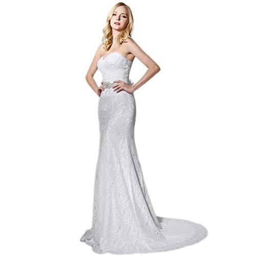 YAONAI Spitze-Hochzeits-Kleider der Frauen, reizvolles Backless trägerloses...