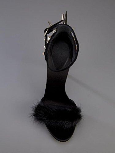 Onlymaker Damenschuhe High Heels Sandale mit Nieten Schwarz