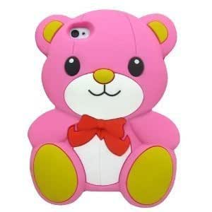 SKS Distribution® rose clair Silicone mignon Ours Bow Bear Etui Coque Housse Pour Iphone 5 / 5S