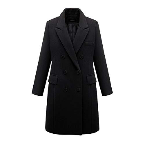 CuteRose Women Wool Blends Double-Breasted Plus-Size Jackets Longline PEA Coat Black L Black Double-breasted Peacoat