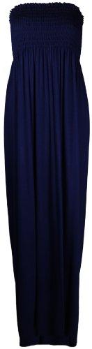 Purple Hanger - Longue Robe Bustier Femme Sans Bretelles Elastique Bandeau Uni Eté Bleu Marine