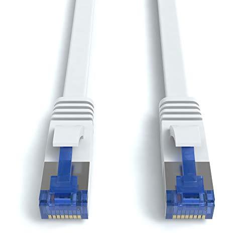 JAMEGA - 1m CAT.7 Netzwerkkabel Flach - Ethernet Kabel Patchkabel in Weiß | Gigabit LAN 10Gbit/s | 600MHz | Cat-7 Rohkabel S/FTP PIMF Schirmung mit RJ45 Stecker | Router Switch Modem (Weiße Xbox 360-network Adapter)