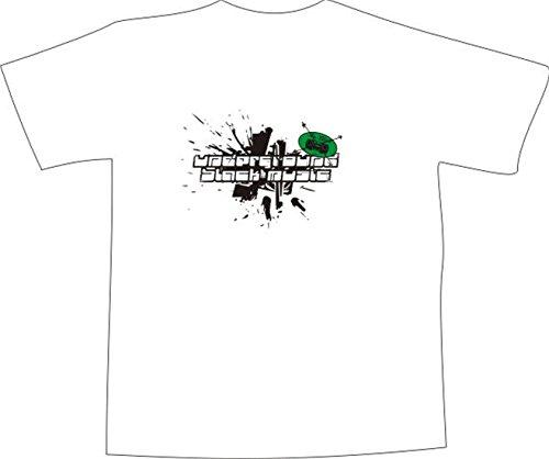 T-Shirt E314 Schönes T-Shirt mit farbigem Brustaufdruck - Logo / Grafik - minimalistisches Tribal mit Farbklecks und Schriftzug Weiß