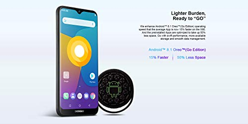DOOGEE X90 Teléfono Móvil Libre - 6.1' Pantalla Completa Waterdrop, Android 8.1 Smartphone Quad-Core 16GB ROM, Dual SIM Moviles, 5MP+8MP Doble Cámara Posterior, GPS