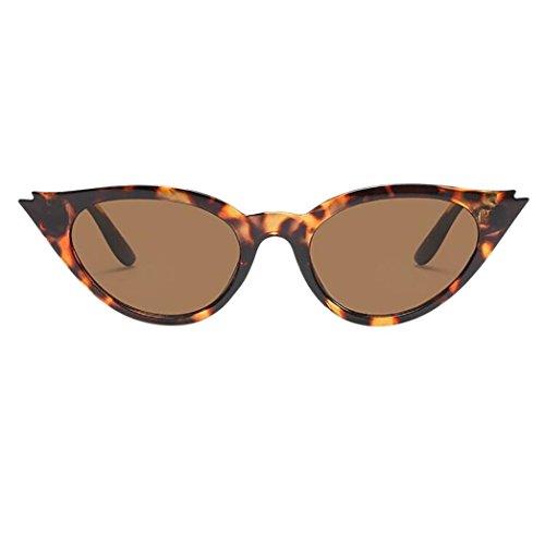 Solike Sonnenbrille für Damen Retro Look Kleine Cat Eye Katze Auge Plastik Rahmen Nerd Brille (F)