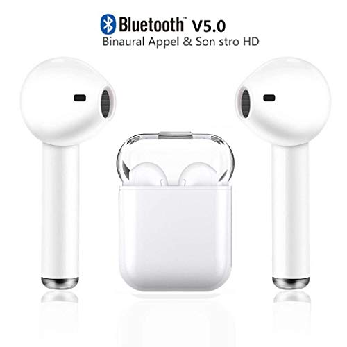 Auricolari Bluetooth 5.0, Cuffie Bluetooth Auricolari Wireless Stereo Senza Fili Sportivi in Ear con Custodia da Ricarica Microfono Leggeri Hi-Fi Cuffie per IOS Android Cuffie avanzate