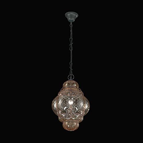 Murano Collection Murano Glas Hängeleuchte Galbajo in Amber Glas transparent | Handgefertigt in Italien | Pendelleuchte Klassisch transparent amber | Lampe E27 - Murano Glas Hängeleuchte