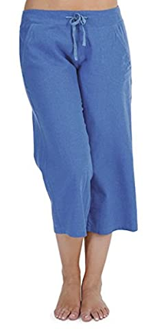 Ladies 100% Linen Cotton Summer 3/4 Three Quarter Length Cropped Trousers Bottoms Pants Tie Waist