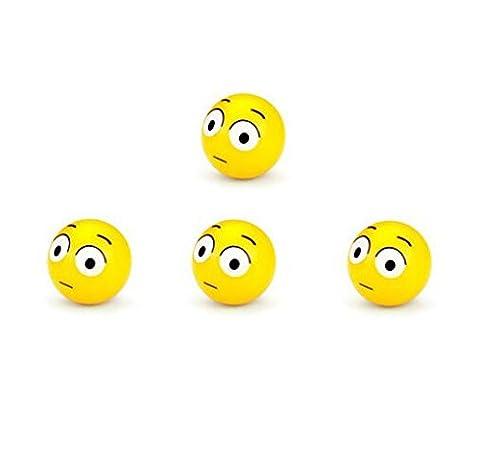 4pcs/set Mini Emoticon Plastic Round Smile Smiley Ball Face Expression Shape Car Tire Caps Auto Wheel Tyre Air Valve Dust Covers Lexitek