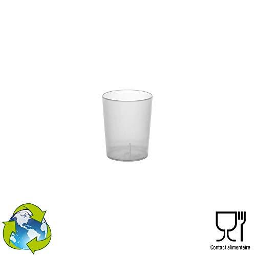 GOBELET CUP 100 Shots Réutilisables - en Plastique Polypropylène Rigide 4cl (Givré)
