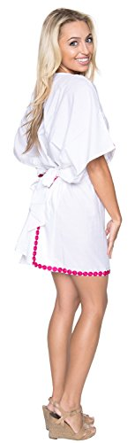 La Leela Super weicher Viskose V-Ausschnitt Frauen Miniatur wirbelt dehnbar Badeanzug Badeanzug lässig 4 in 1 Strand-Bikini-Vertuschung Tunika Lounge Basiskleid Kaftan Kleid bestickt Rosa