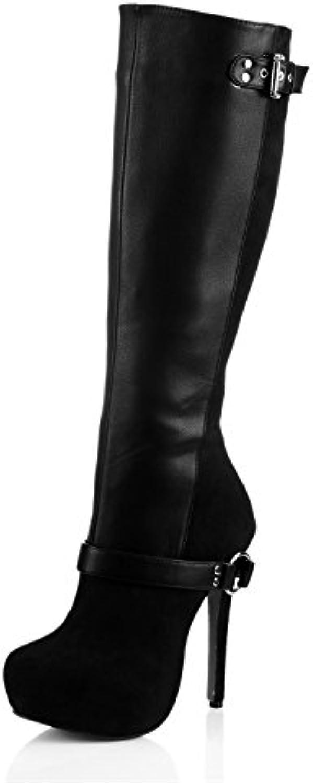 Elegante unità di alta stivali, e e e il nuovo prodotto della giunzione della cinghia in pelle imitata satin nero... | Vinci molto apprezzato  | Uomini/Donne Scarpa  2c0356
