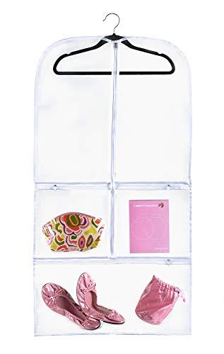 Bags for Less Transparente Tasche für Anzug, 50,8 x 96,5 x 7,6 cm, für Tanz, Kleider und Kostüme, zum Aufhängen, Reiseaufbewahrung für Kleidung, Schuhe und Zubehör, wasserabweisend (Tanz Produktion Kostüme)