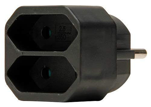 Kopp Euro Greengate GA 01/02 Adapter 2-fach, 250 V, schwarz, 174105004