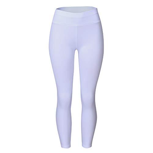Schiedsrichter Kostüm Socken - TTWOMEN Sport Yoga Neun Minuten Hose, Damen Pocket Stitching Hohe Taille Fitness Laufen Leggings Casual Tight (Weiß, Large)