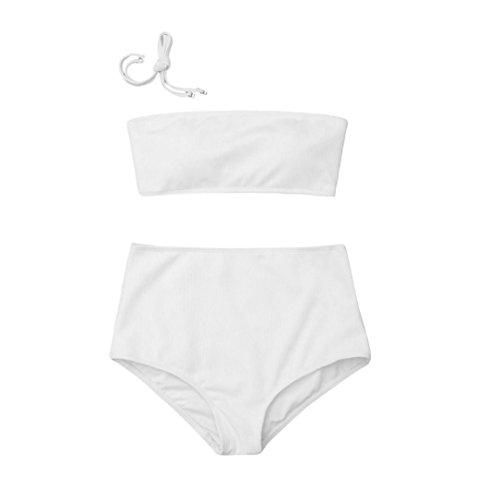 Ba Zha Hei Frauen hängenden Umhängeband Bikini Badeanzug BH-Stil Badeanzug Halfter Stilvoll und elegant Bikini Set Push Up Bikini Bralette Bademode Freche Bikini Bottom Badeanzug (Weiß, L) (Bh Umhängeband)
