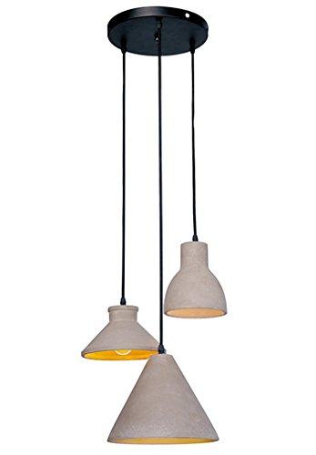Beton Lampe Betonleuchten 3×E27 MAX.60W Loft Pendelleuchte Hängeleuchten Industrielle Pendellampe Hängelampe in Shabby Look 3-flammig Kompatibel mit LED Höhenverstellbar Esstischleuchte Grau ('w-arbeitsplatte)