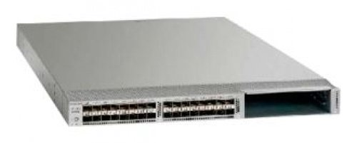 Cisco Chassis includes 32 fixed unified ports, Front-to-Back Airflow, 2 750W AC Power Supplies, Fan Trays, 1 Expansion Slot -