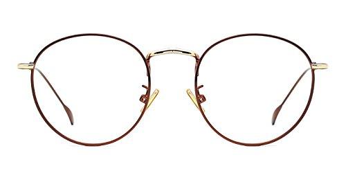 TIJN Retro Damen Runde Dünn Metall Rahmen Brille Ohne Stärke Klare Linse