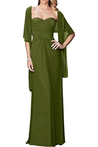 ivyd ressing facile forme de cœur avec boléro Femme A ligne Party robe mousseline Prom Lave-vaisselle robe robe du soir Vert olive