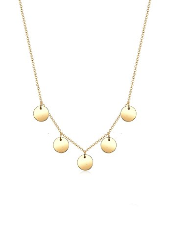 Elli Damen-Kette mit Anhänger Kreis 925 Silber teilvergoldet 45 cm - 0101643117_45