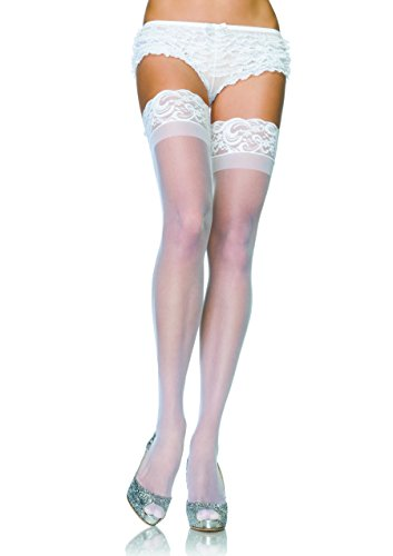 Leg Avenue Lycra Sheer (Leg Avenue - Stricklose Lycra-Feinstrümpfe - 1022, Farbe:Weiss;Groesse:Plus size)