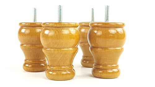 Knightsbrandnu2u 4x Kugelfüße aus massivem Holz gedreht Holz Möbel Beine für Sofas, Stühle, Hocker M10(10) cwc802z braun -