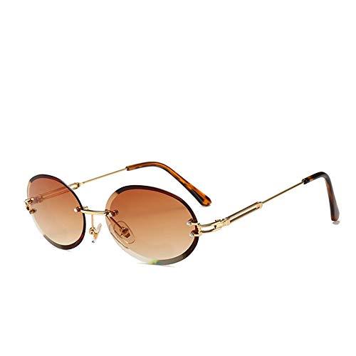 ROirEMJ Mode Sonnenbrille Frauen Classic Retro Randlose Legierung Ovalen Gläsern D