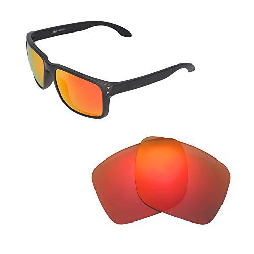 Walleva Ersatzgläser für Oakley Holbrook XL Sonnenbrille - Verschiedene Optionen erhältlich, Unisex-Erwachsene, Fire Red Mirror Coated - Polarized, Einheitsgröße