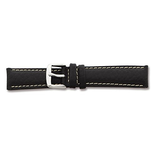 22mm-long-black-leather-wh-stitch-silver-tone-buckle-watch-band