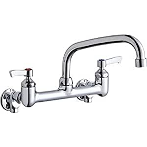 """Elkay Foodservice Chrome : Elkay LK940AT08L2H Chrome Finish Solid Brass Faucet with 8"""" Arc Tube Spout and 2"""" Lever Handle, 8"""" Wall Mount Centerset"""