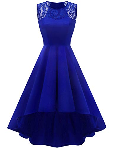 Homrain Damen 1950er Vintage Retro Rockabilly Cocktail Spitzenkleid Party Abendkleider Royalblue XS