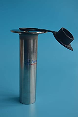 Amarine-made 90 Degree Stainless Heavy Duty Flush Mount UV Resistant Rod Holder with Black PVC Cap and Liner- 7745-90