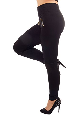Unbekannt Damen Hosen im festen Leggings-Stil, in 8 verschiedenen Farben, Einheitsgröße passend für 34-38, 93611 (Schwarz)