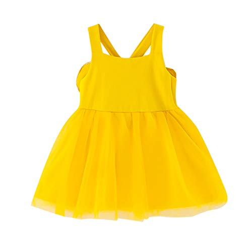 Hanomes Mädchen Outfits Kleider,Sommer Tüll Prinzessin Kleid mit Flügel Solid Ärmellos Newborn Tutu Kleinkind Baby T-Shirt Strap Kleid(3Monate-24Monate) Tag Tutu-outfit