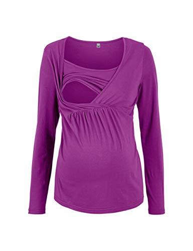 Zhhlaixing Casual Maternity T-Shirt Stillzeit Top Nursing Baumwolle Umstandsmoden - Loose Schwanger T-Shirt Damen Umstandstop Langarmshirt