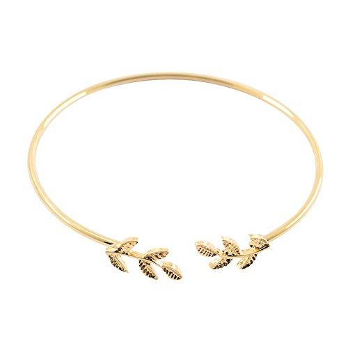 Lialbert Damen Schlichte Armband,Feine Blatt Offen Armreif Gold ArmbäNder Silber DüNne Mode Schmuck (Gold Armbänder Armreifen Dünne)