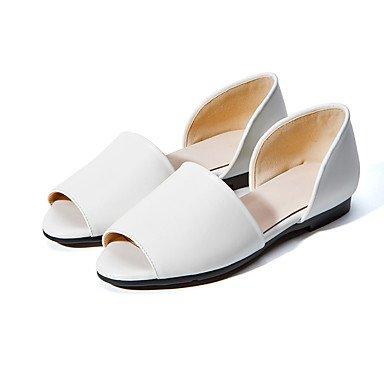 LvYuan Damen-Sandalen-Outddor Kleid Lässig-PU-Flacher Absatz-Andere-Schwarz Weiß White