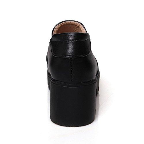 VogueZone009 Femme Matière Souple Tire Rond à Talon Correct Couleur Unie Chaussures Légeres Noir