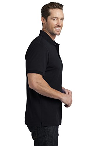 District Made Herren dehnbar Pique Polo Shirt Schwarz