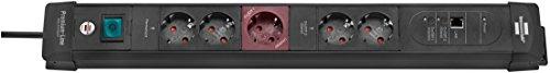 Brennenstuhl Premium-Web, Steckdosenleiste 5-fach mit Master Slave Funktion und DSL-Anschluss (mit Schalter und 3m Kabel) Farbe: schwarz