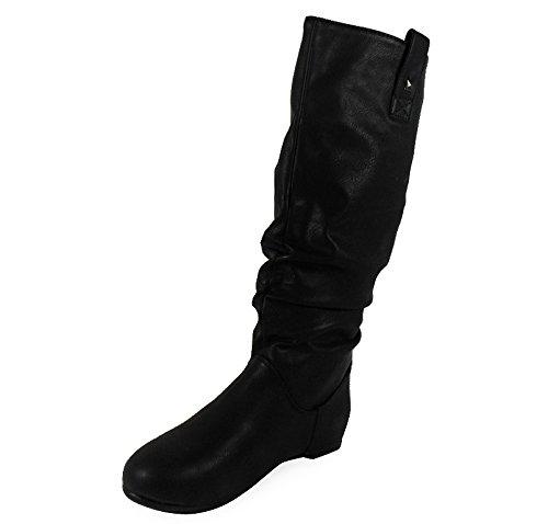 29fdf97944cf1f WOMENS PIXIE MID CALF ROUCHED FLAT PULL ON KNEE LONG LADIES SLOUCH BOOTS  SIZE 3-8 | BootAvenue