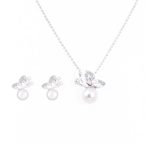 Fasherati butterfly white pearls pendant set for girls