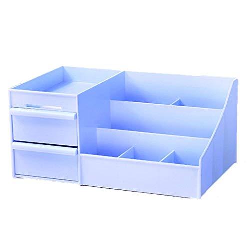 MJY Aufbewahrungsbox Kosmetik Desktop Schublade Typ Kommode Hautpflege Pinsel Reine Farbe Schmuck Lippenstift Lagerung Sort Out Regal Finishing Box,Blau -