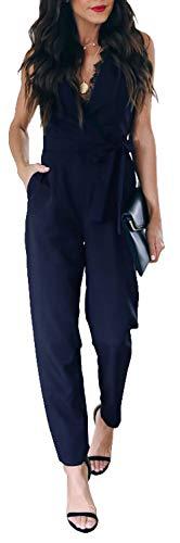 Longwu Damen Jumpsuit mit tiefem V-Ausschnitt, Spitze, ärmellos, hohe Taille, Gürtel mit Taschen - Blau - 44
