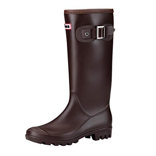 JERFER Stivali di Gomma Donna Antiscivolo Impermeabile Neve Festival Alti Pioggia Stivali Regolabile Zip Fibbia Rain Boot Wellington Boot