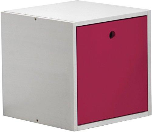 Design Vicenza Cube mit Abdeckung, Holz, Weiß mit Fuchsia Details -