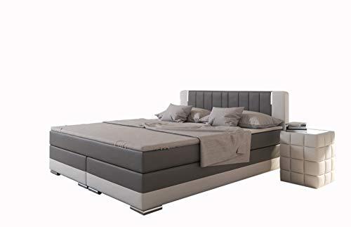 Preisvergleich Produktbild SalesFever® LED-Boxspringbett 180x200 Brooklyn / Grau-Weiß / H3 Bonellfederkern-Matratze + Hochwertiger Topper / FSC® 100%