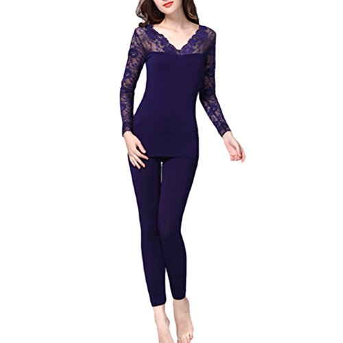 Zhhlaixing Womens Home Soft Nightwear Bodysuit Set Fashion V-collar Slim Warm Underwear Navy