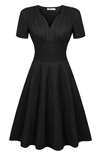 CRAVOG Robes Vintage 1950s Audrey Hepburn Robe de Soirée Cocktail, Bal Style Années 50 Rockabilly Swing Taille Haute Noir